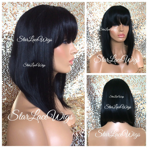 Light Yaki Straight Indian Remy Lace Front Wig - Stock - Joy