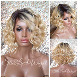 Blonde Human Hair Blend Wavy Dark Root Lace Front Wig