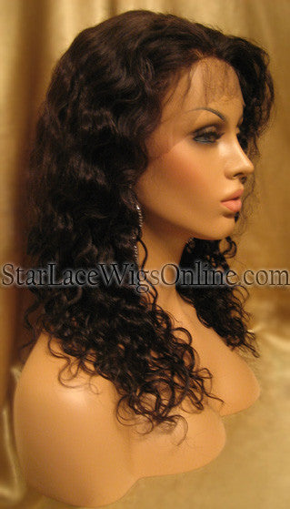 Curly Human Hair Custom Lace Front African American Wigs