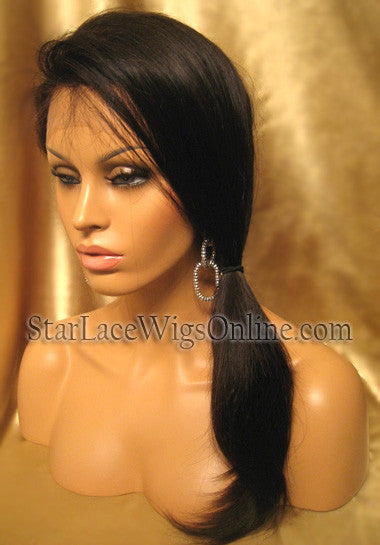 Long Straight Chinese Virgin Hair Custom Full Lace Wigs For Black Women