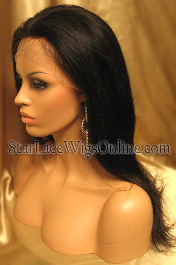 Long Straight Chinese Virgin Hair Custom Full Lace Wig