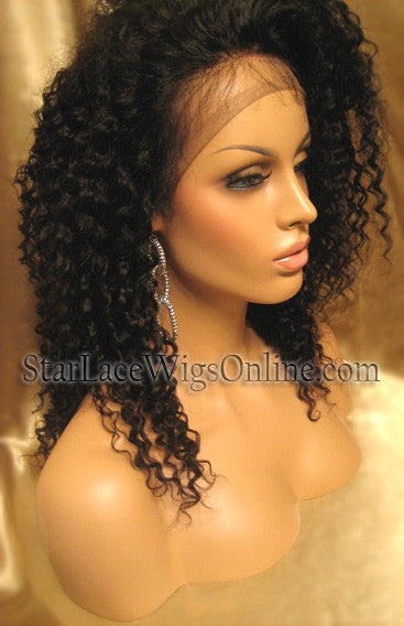 Kinky Curly Human Hair Full Lace Wigs For Black Women