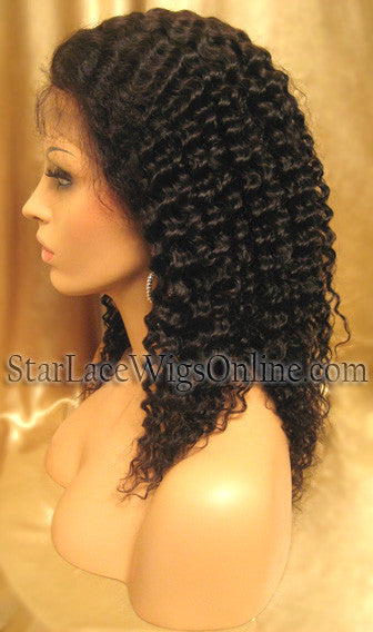 Custom Kinky Curly Human Hair Full Lace Wigs For Black Women