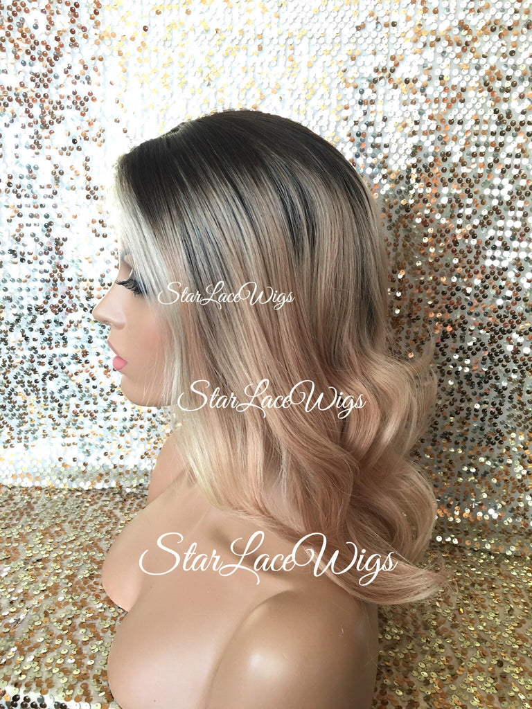 Blonde Lace Front Wig With Dark Roots Human Hair