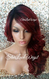 Lace Front Wig Human Hair Blend Red Dark Roots Curly Bangs - Diana
