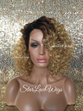 Lace Front Wig Synthetic Curly Honey Blonde Blonde Dark Roots - Cyndi