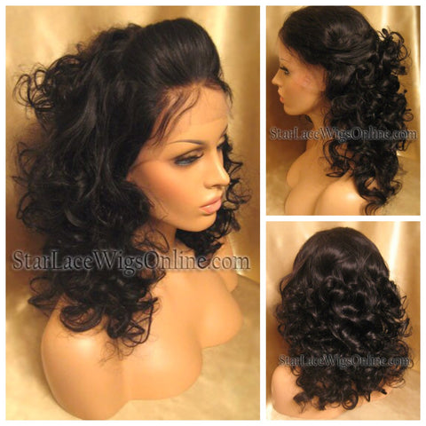 Curly Spanish Wave Indian Remy Full Lace Wig - Stock - Pariss