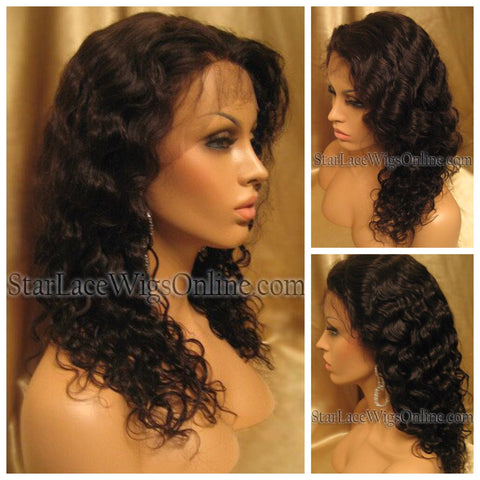 Curly Water Wave Human Hair Full Lace Wig - Custom - Pamela