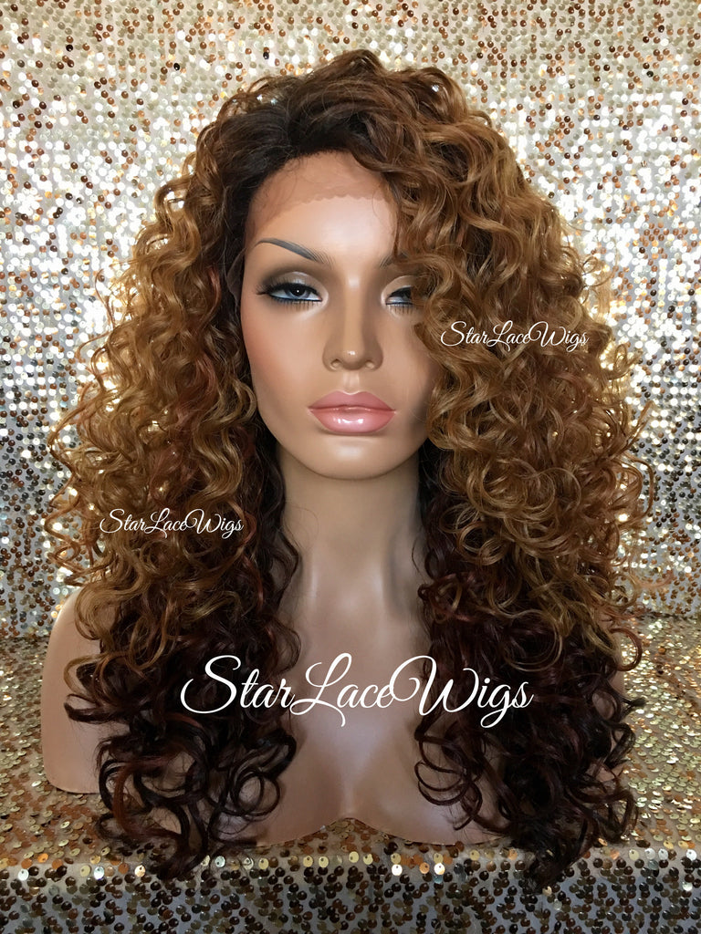 Lace Front Wig Synthetic Curly Ombre Brown Auburn Burgundy - Rachel