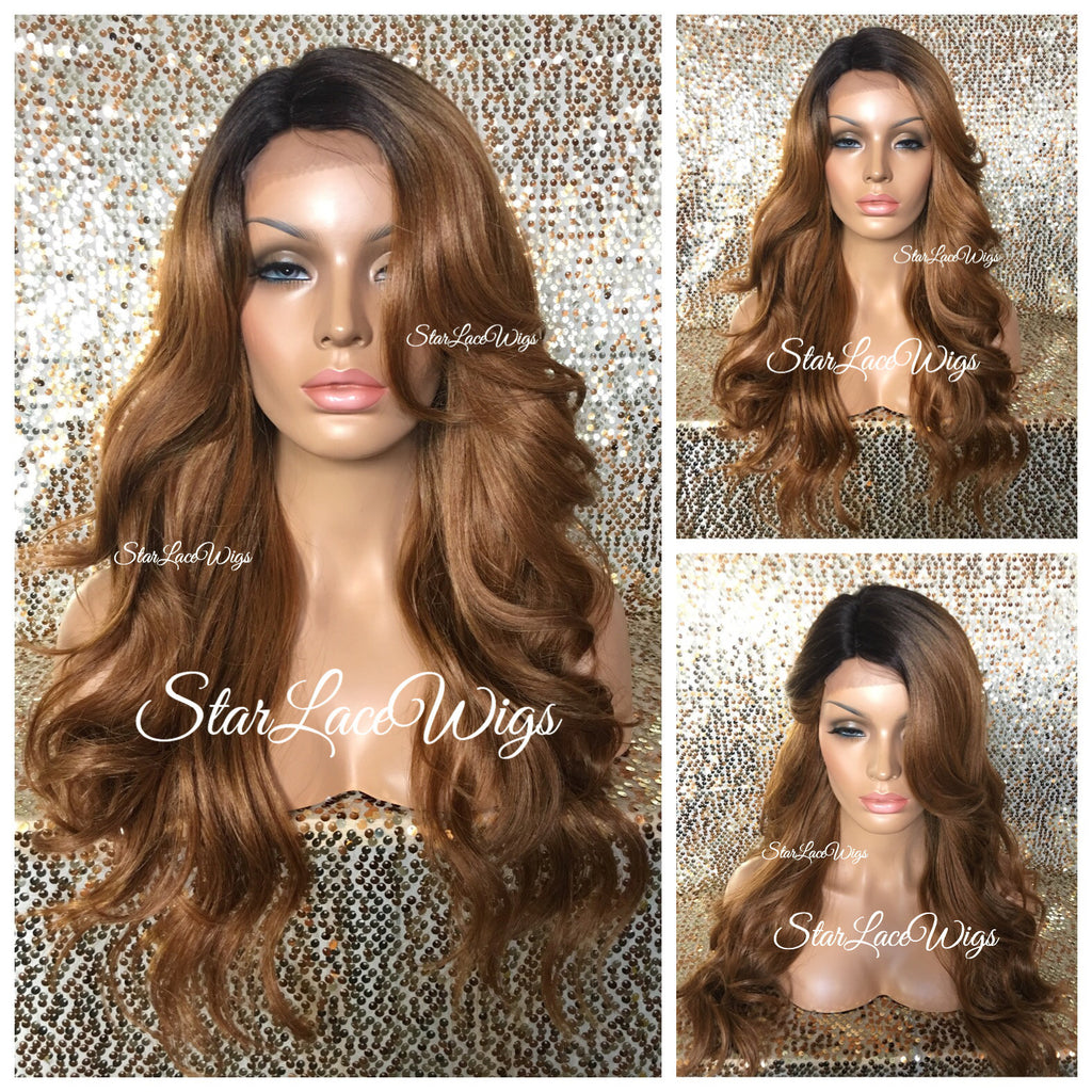 Long Auburn Loose Wavy Synthetic Wig Layers Bangs - Vicky