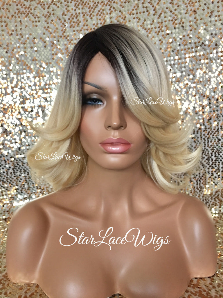 Straight Blonde Synthetic Wig Dark Roots Medium Length  - Carlie