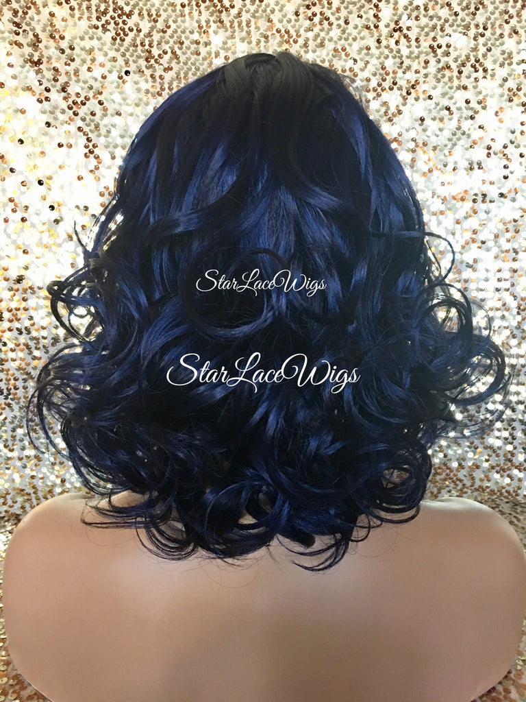 Short Curly Dark Blue Synthetic Wig - Jan