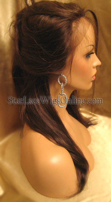Long Silky Straight Human Hair Custom Full Lace Wigs For Black Women