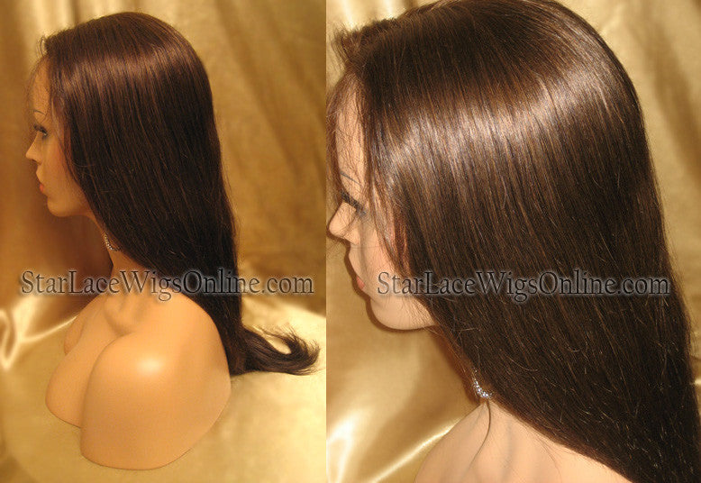 Long Silky Straight Human Hair Custom Full Lace Wigs For White Women