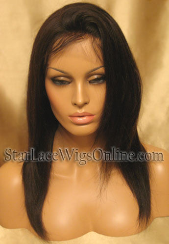 Light Yaki Straight Indian Remy Lace Front Human Hair Wig