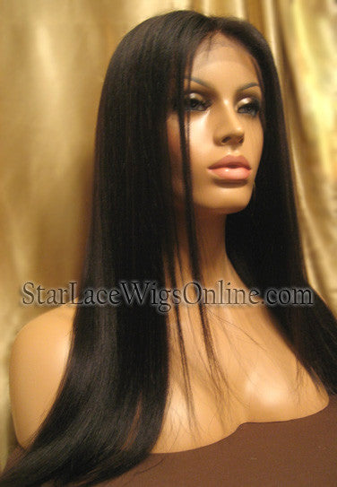 Yaki Straight Human Hair Custom Full Lace Wig