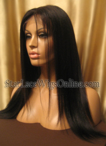 Yaki Straight Indian Remy Lace Front Wigs For Black Women