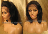 Short Yaki Straight Human Hair Custom Full Lace Wigs