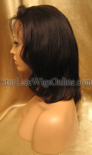 Short Yaki Straight Human Hair Full Lace Wigs For White Women