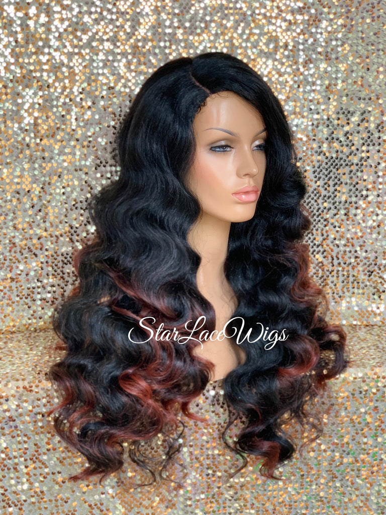 Long Curly Body Wave Wig Black with Burgundy Highlights & Ends Layered Synthetic Wig - Karyn