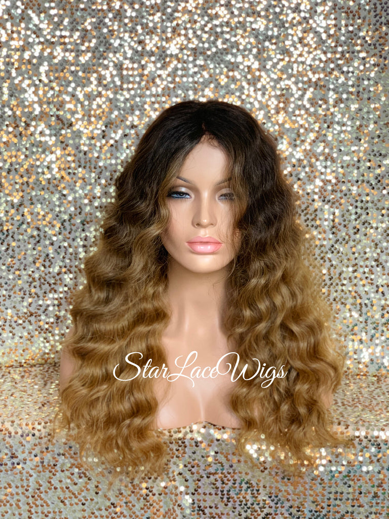 Long Body Wave Wig #27 Brown Roots #4 Middle Part Synthetic - Tanya