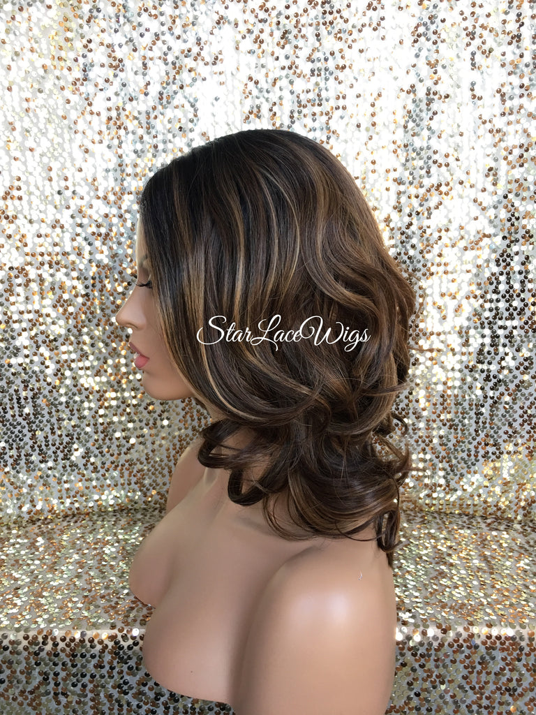 Lace Front Wig Human Hair Blend Curly Brown Highlights Dark Roots Short- Ginger