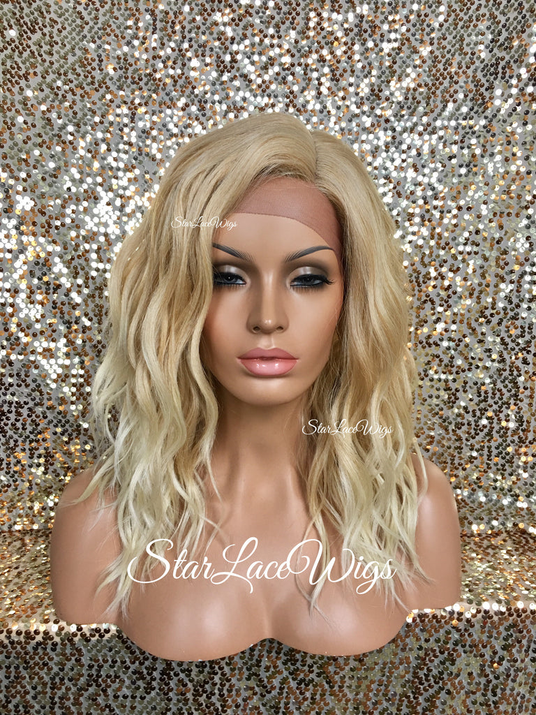 Synthetic Lace Front Wig Wavy Golden Platinum Blonde - Karissa