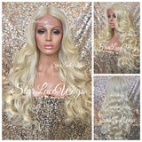 Lace Front Wig Human Hair Blend Platinum Blonde Body Wave - Victoria