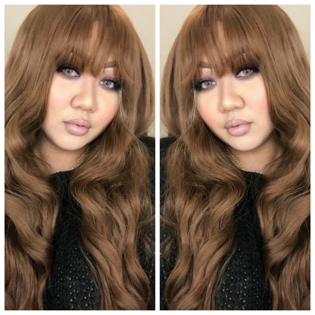 Long Wavy Brown Wig With Chinese Bangs - Ginny