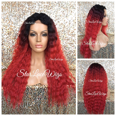 Lace Front Wig Synthetic Ombre 4/27/30 Highlights Wavy Middle Part - Cassidy