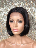 Lace Front Wig Bob Straight Black Brown Middle Part - Marie