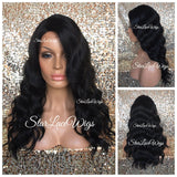 Synthetic Lace Front Wig Body Wave Long Black Brown Side Part - KAS