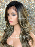 Lace Front Wig Long Synthetic Curly Layers Dirty Blonde & Light Brown Side Part - Charlie