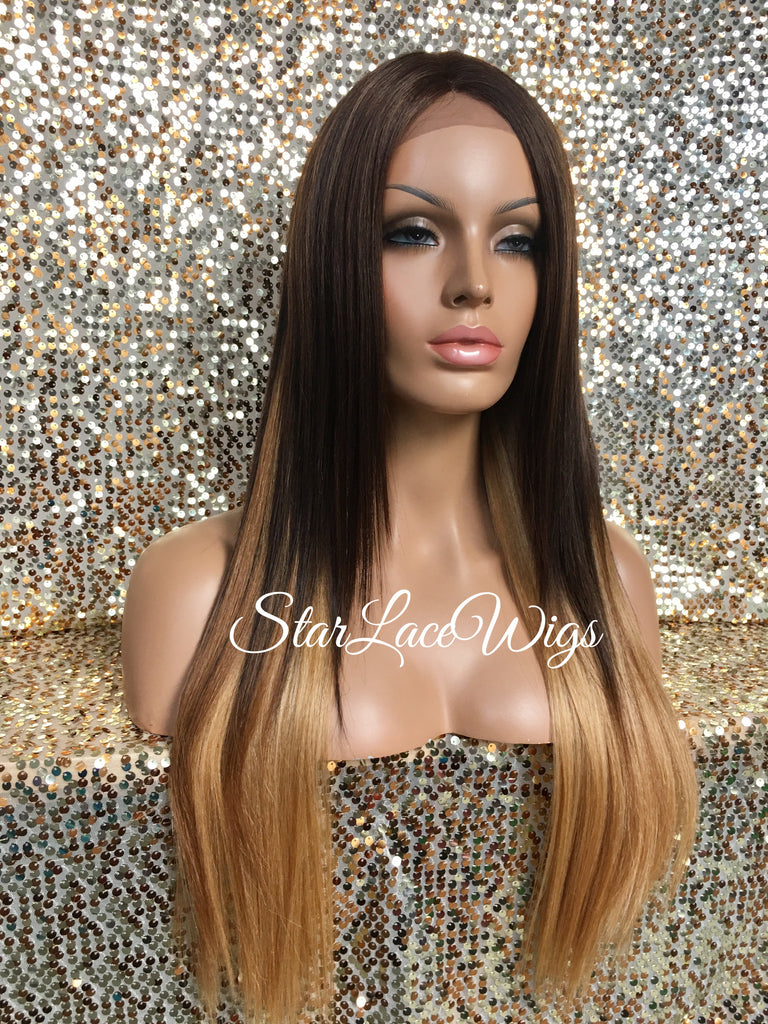 Long Straight Two Toned Brown Honey Blonde Synthetic Lace Front Wig Layered Middle Part - Lucinda