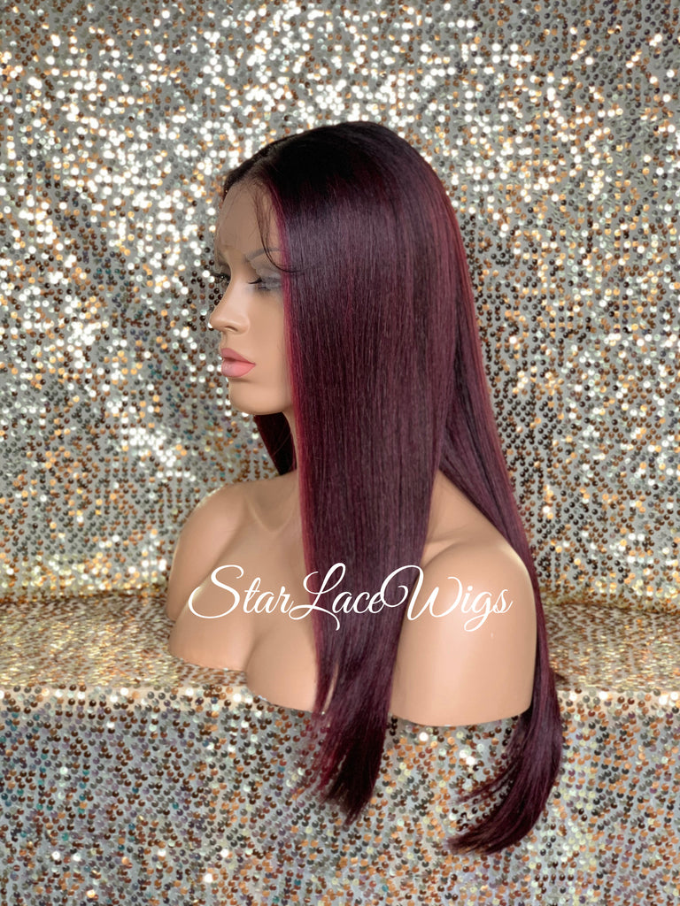 Lace Front Wig Synthetic Red Burgundy Long Straight Middle Part - Sadie