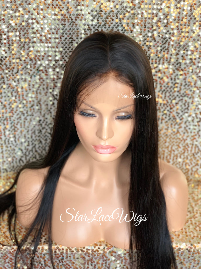 Human Hair Silk Top Lace Front Wig Long Straight Natural Brown - Edith