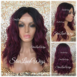Synthetic Lace Front Wig Burgundy Dark Roots Wavy - Layla