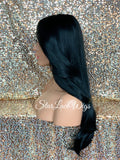 Lace Front Wig Long Synthetic Straight Layers Black Brown Middle Part - Camila