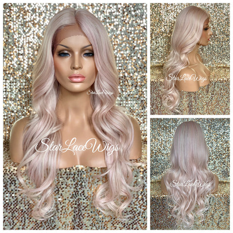 Long Wavy Synthetic Lace Front Wig Golden Blonde Dark Roots - Eva