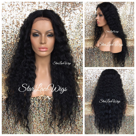 Lace Front Wig Human Hair Blend Straight Golden Blonde Dark Roots Layered - Robyn