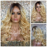 Lace Front Wig Blonde Human Hair Blend Long Wavy - Debbie