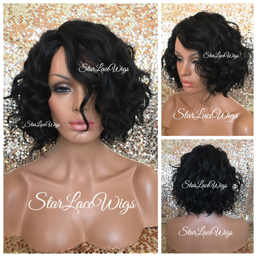 Lace Front Wig Human Hair Blend Curly Bob Wig - Penelope