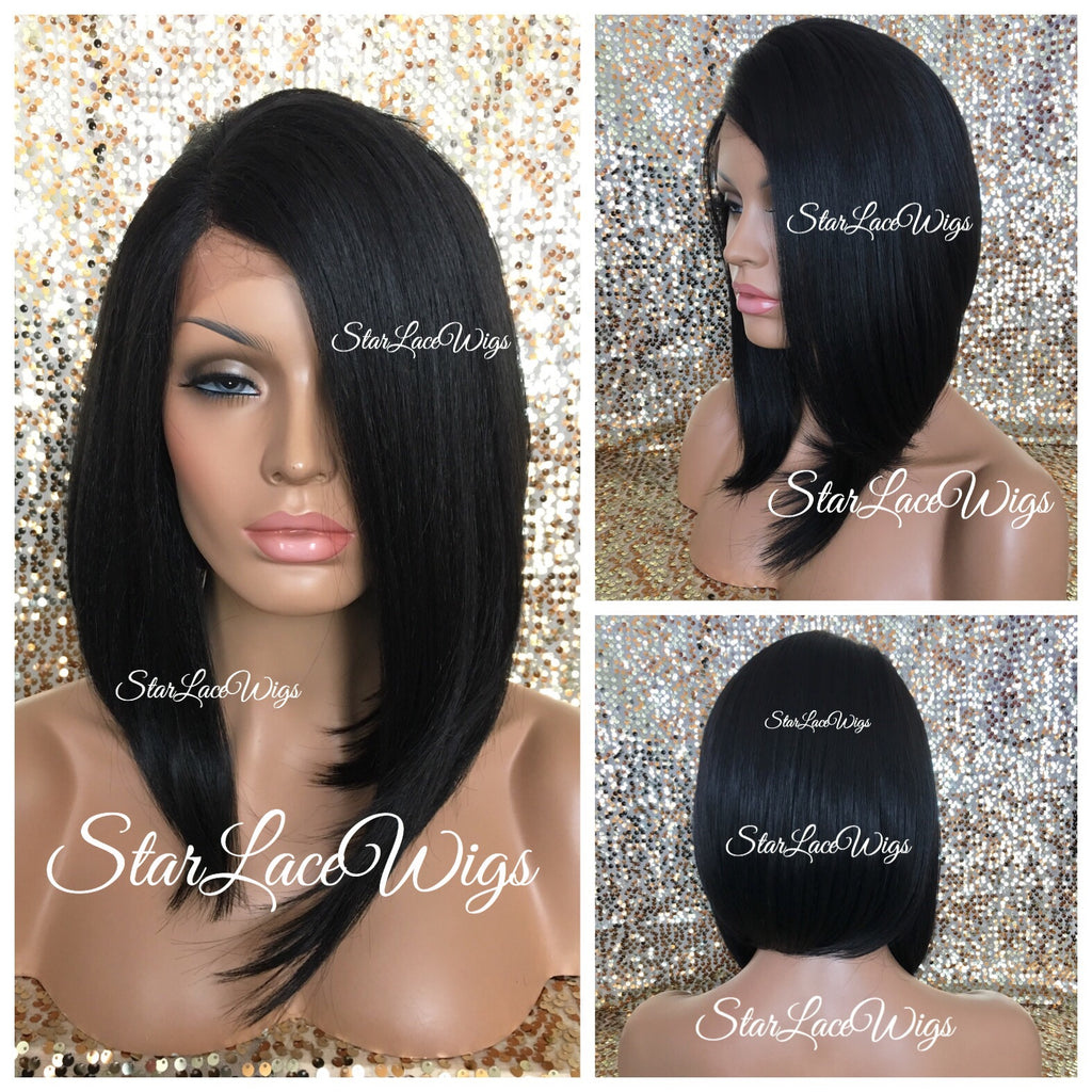 Lace Front Wig Asymmetrical Angled Bob Straight Black Synthetic - Francis