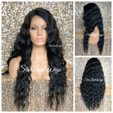 Long Black Wavy Synthetic Lace Front Wig Middle Part Layers - Kandy