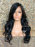 Lace Front Wig Long Synthetic Curly Layers Brown Black & Side Part Bangs - Lillian