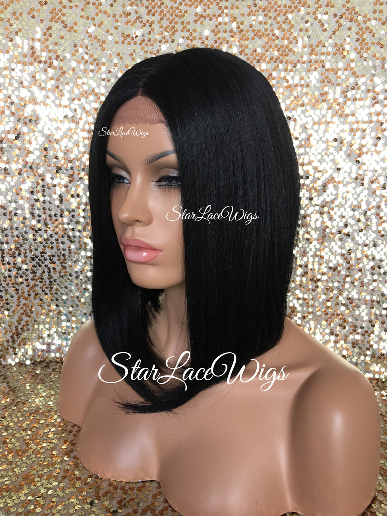 Lace Front Wig Asymmetrical Angled Bob Straight Black Synthetic - Faith