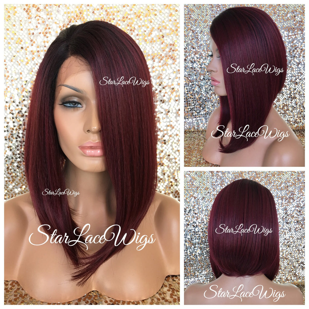 Lace Front Wig Asymmetrical Angled Bob Straight Burgundy Synthetic - Eileen
