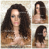 Lace Front Wig Synthetic Curly Ombre Brown Honey Blonde - Paisley