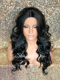 Long Curly Synthetic Wig Black Middle Part Layers - Vivian