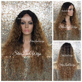 Lace Front Wig Human Hair Blend #30 Wavy Dark Roots #1 Layered - Gabriella